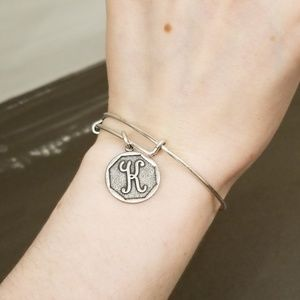 """Alex and Ani """"K"""" Intial Silver Charm Bangle"""